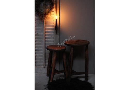 LifestyleByLeonie Set van 2 sleetse houten Indiase krukjes