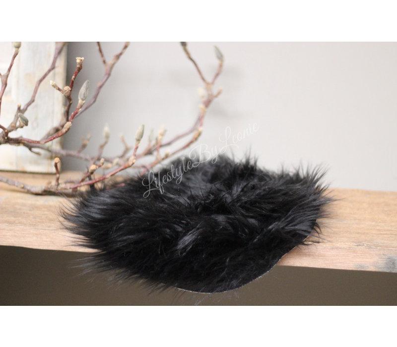 Schapenvacht Black rond 25 cm