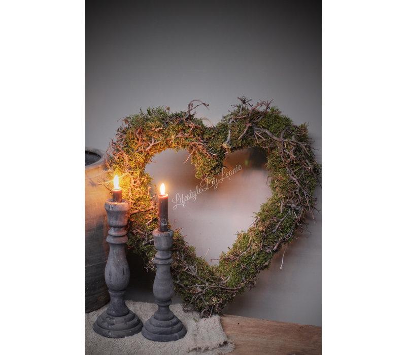 Groot hart van mos en bonsai 45 cm