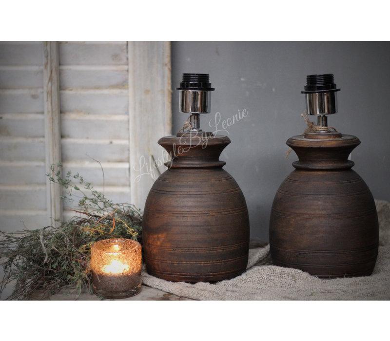 Nepalese stenen kruik lampvoet 20 cm
