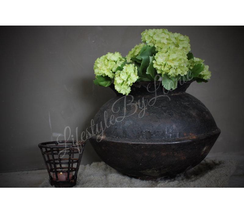 Zijden Hortensia tak snowball groen 68cm