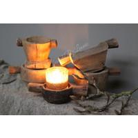Authentieke houten kandelaar / graanverdeler