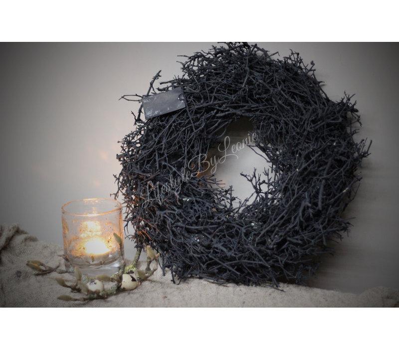 Zwarte krans Dry tree 40 cm