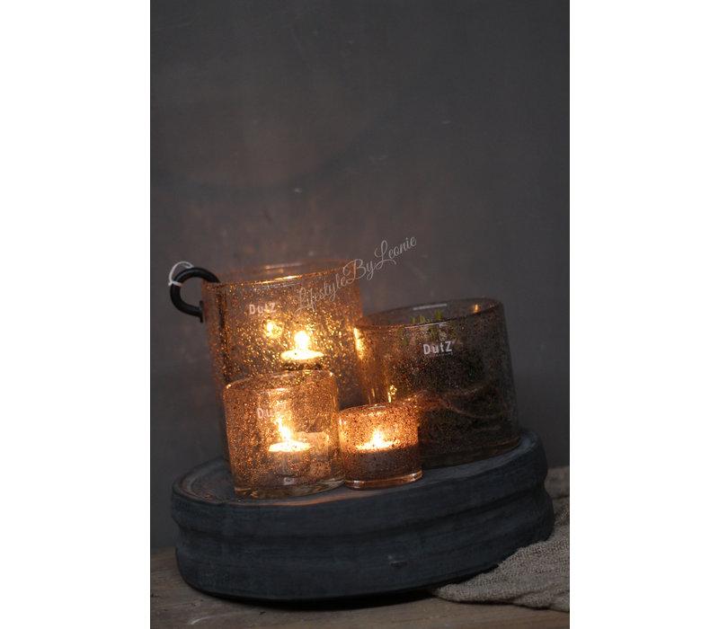DUTZ cilinder windlicht met bubbels 14 cm
