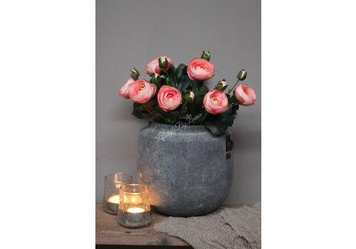 Zijden Ranonkel bloem met knop Pastel pink