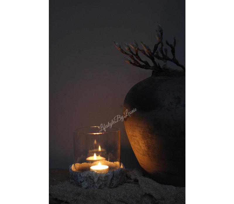 Glazen windlicht op stoere stenen plateau 12 cm