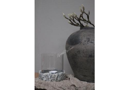 LifestyleByLeonie Glazen windlicht op stoere stenen plateau 12 cm