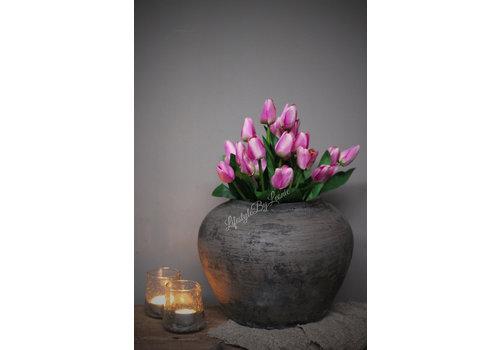 LifestyleByLeonie Bosje paarse namaak tulpen met groen 38 cm