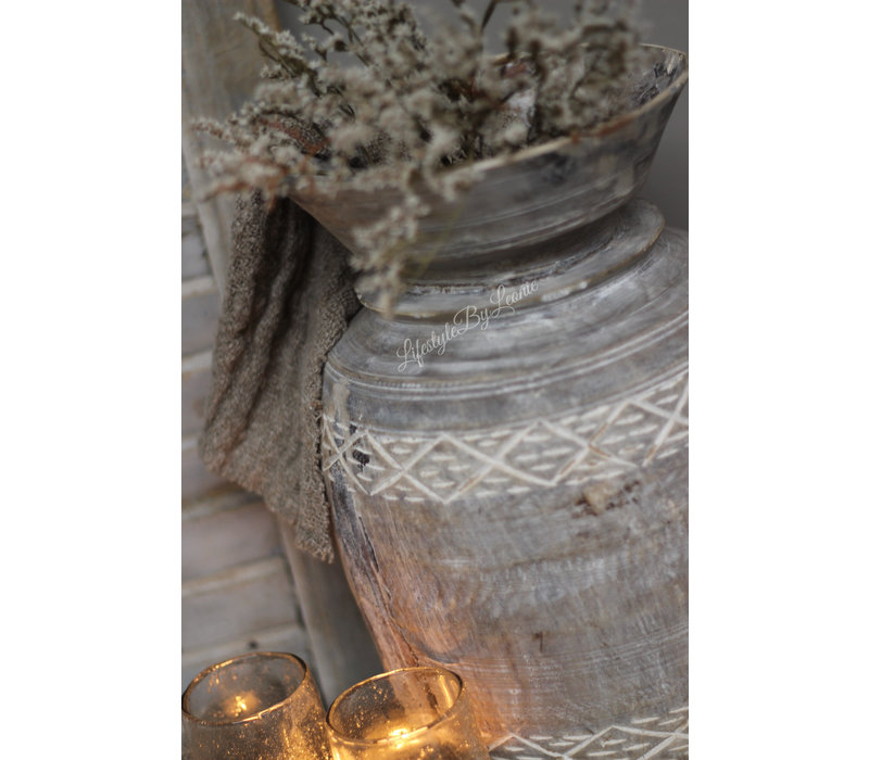 Nepalese kruik Carved naturel