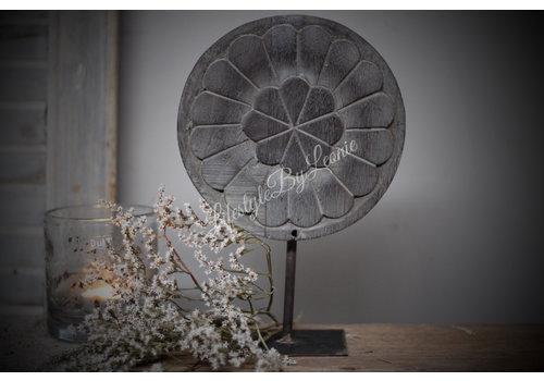 LifestyleByLeonie Houten paneel op statief Flower greywash