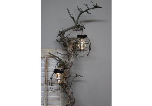 Zwart metalen hanglantaarn LED 16 cm