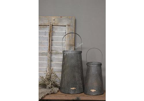 LifestyleByLeonie Metalen lantaarn Antiq taupe/grey 28 cm