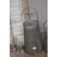 Metalen lantaarn Antiq taupe/grey 28 cm