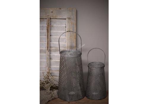 LifestyleByLeonie Metalen lantaarn Antiq taupe/grey 20 cm