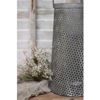 Metalen lantaarn Antiq taupe/grey 20 cm