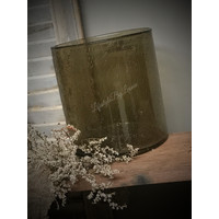 Brynxz glazen windlicht steenslag dark grey 23 cm