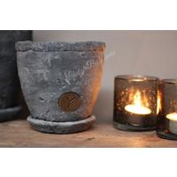 Brynxz stenen pot op onderzetter 14 cm