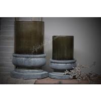 Brynxz glazen windlicht steenslag dark grey 17 cm