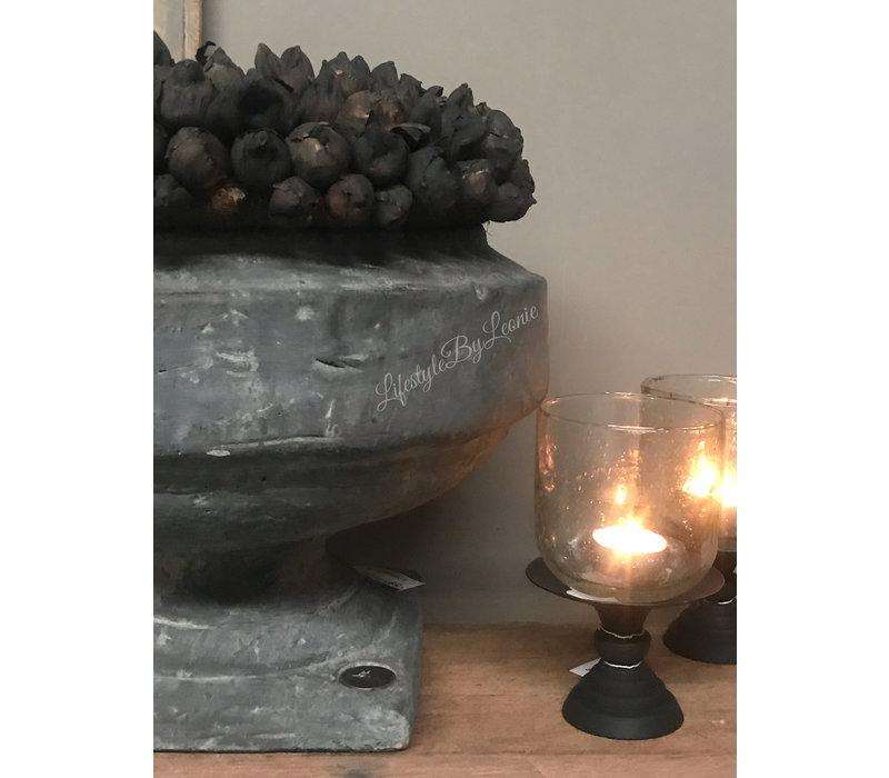 Brynxz zware stenen pot Bowl op voet 36 cm