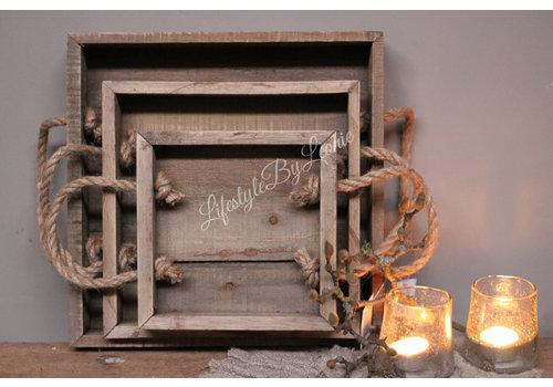 Vierkante houten tray met touw hengsel - maat S