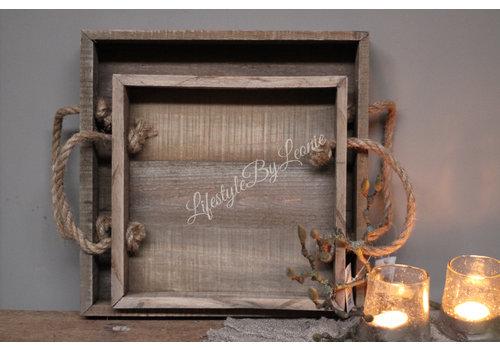 Vierkante houten tray met touw hengsel - maat M