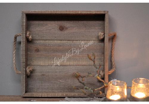 LifestyleByLeonie Vierkante houten tray met touw hengsel - maat L