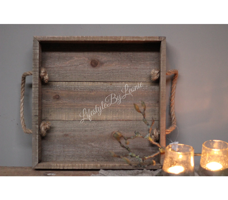 Vierkante houten tray met touw hengsel - maat L