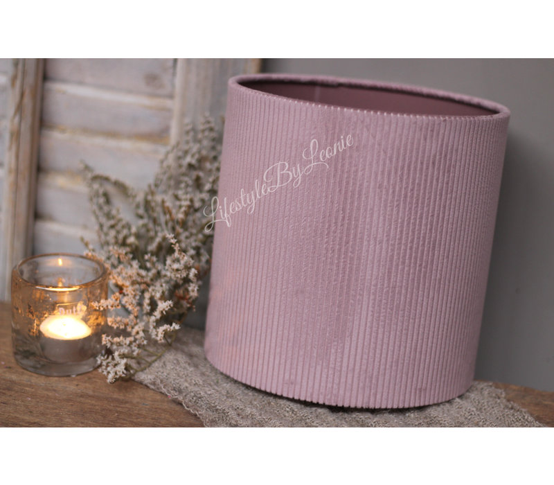 Cilinder lampenkap velvet rib Soft paars 20 cm
