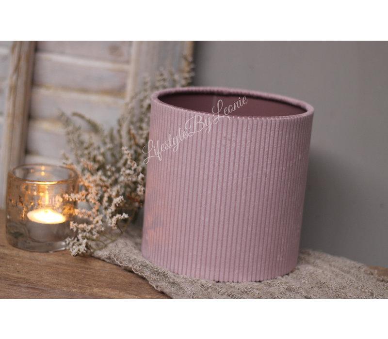 Cilinder lampenkap velvet rib Soft paars 15 cm