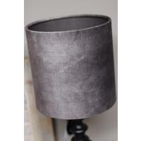 Cilinder lampenkap velvet grey Elephant 20 cm
