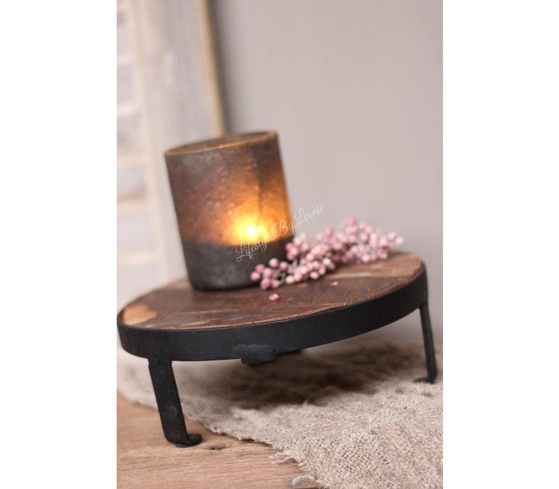 Ronde oud houten tray met ijzer 20 cm