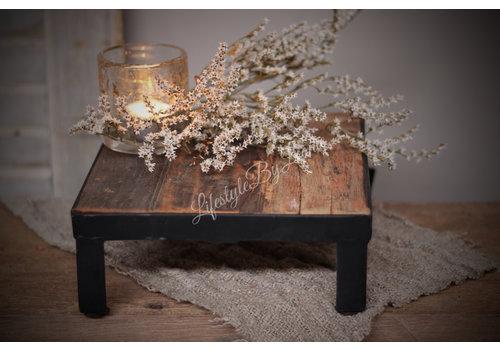 LifestyleByLeonie Vierkante oud houten tray met ijzer 20 cm