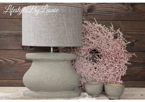 LifestyleByLeonie Cilinder lampenkap stonewashed grey 25 cm