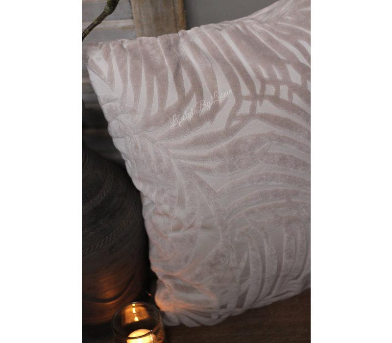 Kussen Velvet leaves ivoor 45 cm