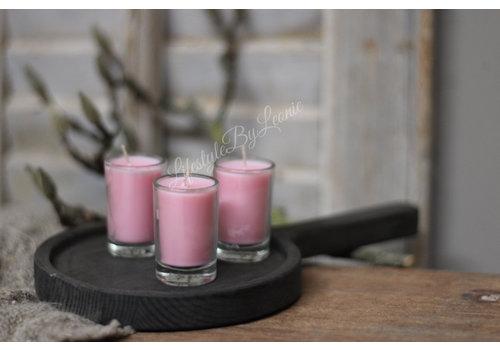 LifestyleByLeonie Set kaarsjes in glas Pink