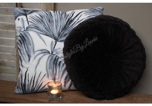 LifestyleByLeonie Kussen Zwart grijs leaves 45 cm