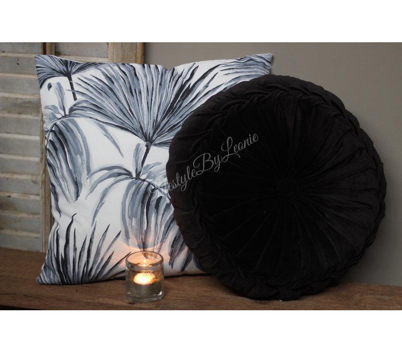 Kussen Zwart grijs leaves 45 cm