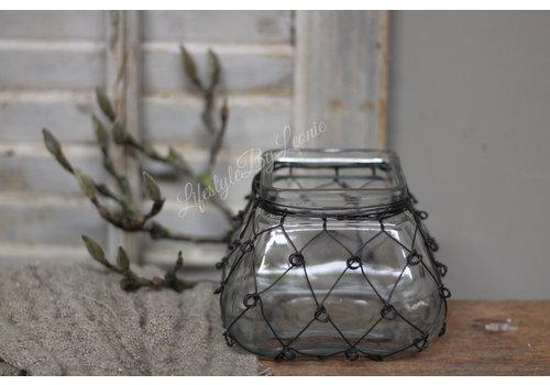 LifestyleByLeonie Vierkant glazen windlicht Wired 14 cm