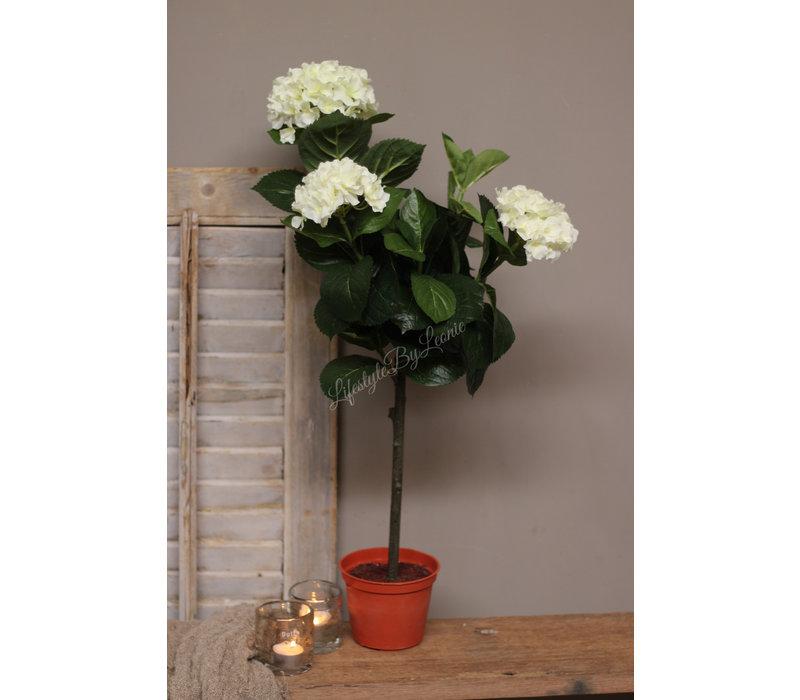 Witte namaak Hortensia op stam 70 cm