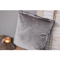 Kussen Velvet Overlock light grey 45 cm