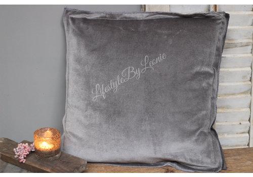 LifestyleByLeonie Kussen Velvet Overlock light grey 45 cm