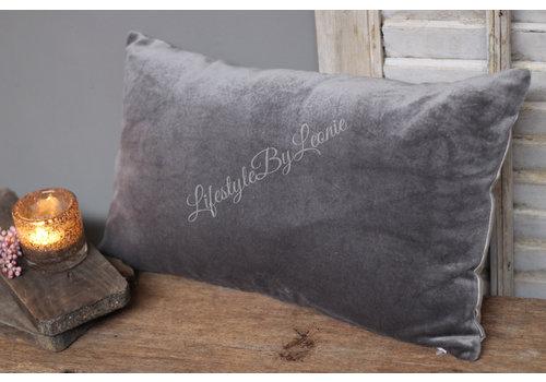 Langwerpig velvet kussen Light grey