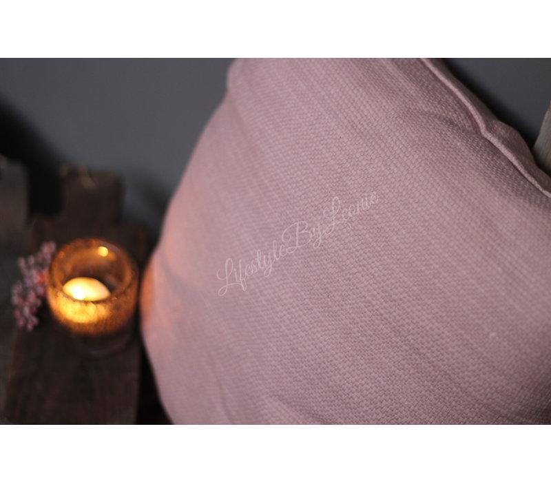 Kussen Linnen look light pink 45 cm