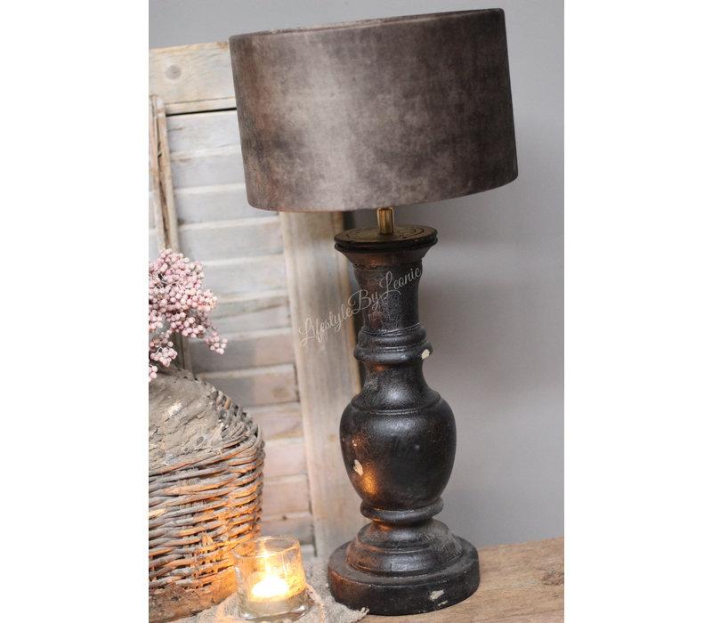Baluster lampvoet en cilinder lampenkap 61 cm