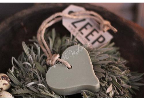 Mijn Stijl zeephanger hart groen/grijs- maat L