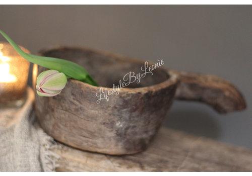 LifestyleByLeonie Oude houten bak / schaal met handvat