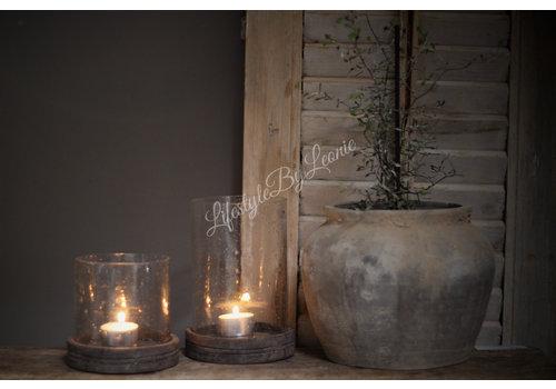 Pot / windlicht bubbels met houten deksel - maat M