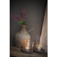 Pot/windlicht bubbels met houten deksel - maat S