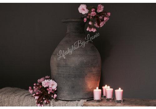 Set kaarsjes in glas Pink