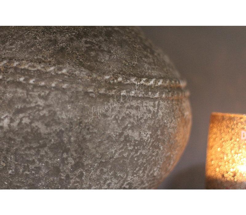 Grote stenen kruik met hals Old grey wash 30 cm